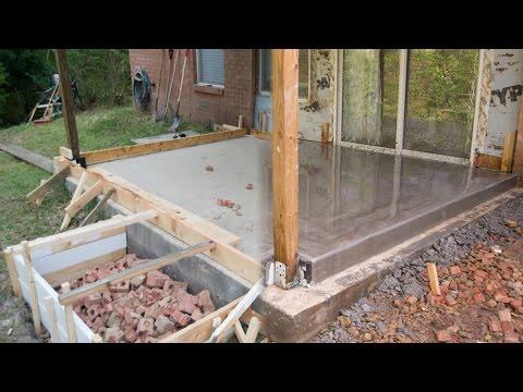 Pouring Concrete Floor over Concrete Porch Foundation