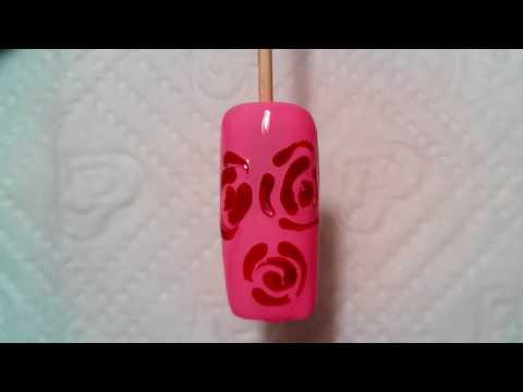 маникюр рисунки на ногтях для начинающих .Розы. Manicure Nail Art Design acrylic paints. Roses