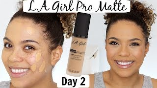 LA Girl Pro Matte Foundation Review/Wear Test | 12 DAYS OF FOUNDATION DAY 2