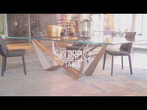 Skorpio table in Brushed Bronze.
