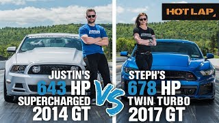 Justin vs Steph Drag Race | 643+ HP Supercharged GT vs 678+ HP Twin Turbo Mustang GT - Hot Lap