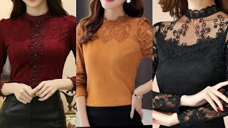 Very Stylish And Attractive Korean Style Chiffon Blouses With Lace Patch Work Designing