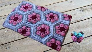 Couverture Bebe Crochet Fleur Africaine / Baby Blanket African Flowers