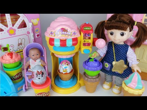 Baby Doll play doh surprise eggs and Ice cream shop toys play - 토이몽