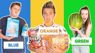 EATING Only ONE COLOR of FOOD For 24 Hours CHALLENGE!  **BAD IDEA** 💙🧡💚   Gavin Magnus