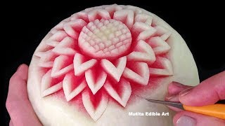 Simple Watermelon Flower Style - Int Lesson 1 By Mutita Art Of Fruit And Vegetable Carving Video