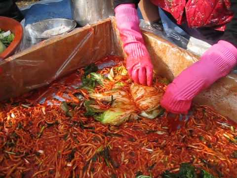 traditional winter kimchi making by Korean grandmother