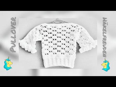 Pullover häkeln ✿ mit 3/4 - Ärmel ❃