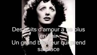 Edith Piaf  La vie en rose with lyrics