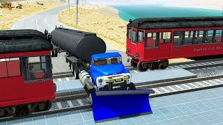 Beamng drive - Train Subway Crashes #3 (railway crossing crashes, real sounds)