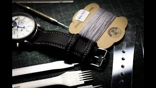 Making a three-layered leather watchstrap