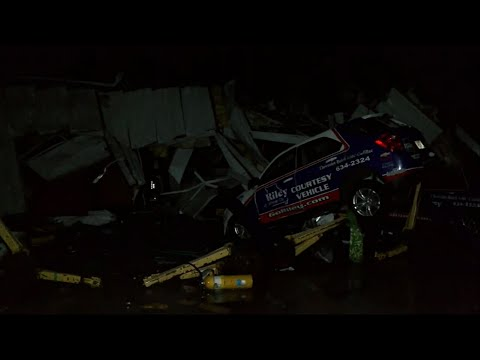 """A """"violent tornado"""" touched down in Jefferson City, Missouri, according to the National Weather Service, but there were no immediate reports of fatalities. There is heavy damage, including in a Jefferson City car dealership. (May 23)"""