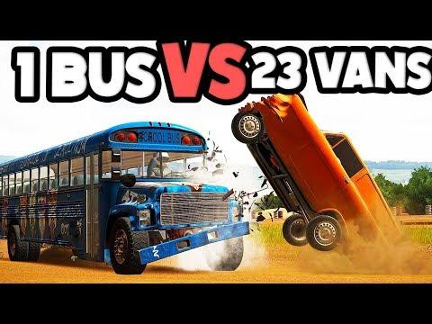 School Bus Vs 23 TINY Super Vans! CRAZY CRASHES! - Wreckfest