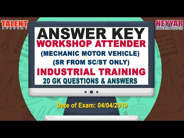Kerala PSC Today's (04-04-2019) Exam Workshop Attender Industrial Training GK Questions Answer Key