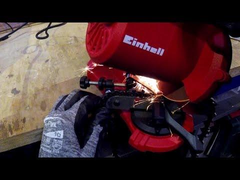 Sägekette schärfen mit dem Einhell GC CS 85 E Sägekettenschärfgerät für Kettensägen
