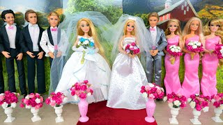 Double Wedding for Dolls boneka pengantin Robe de mariée Braut Puppe Boneca noiva فستان الزفاف