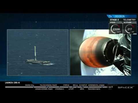 НАСА опубликовала видео взлета и посадки первой ступени ракеты SpaceX на платформу в океане