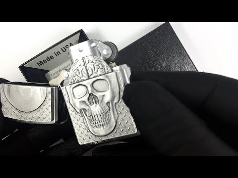29818 Зажигалка Zippo Skull Brain Surprise, Brushed Chrome