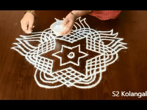 simple & beautiful freehand kolam * easy rangoli * new