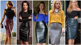 Fabulous And Trendy PU Leather Middi Pencil Skirt Outfit Ideas Popular In # 2020