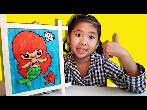 Bé Bún Tô Màu Tiên Cá | Instruksi untuk mewarnai putri duyung