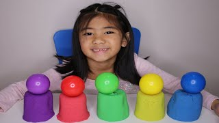 Learn Colors with Kinetic Sand Surprise Toys inside for Kids