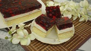 Ciasto z bitą śmietaną i galaretką - Ciasto z jagodami i galaretką - pyszne ciasto na biszkopcie