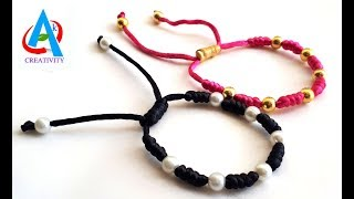 How To Make Beautiful Pearl Bracelets At Home / Making Of Friendship Band With Satin Cord