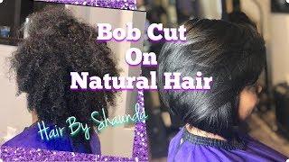Bob Cut On Naturally Curly Hair / Salon Cass/ Hair By Shaunda
