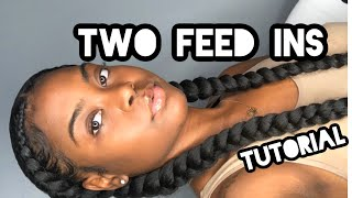 How To Do Two Feed In Braids On Thick Hair( UPDATED)|| Nia Bia
