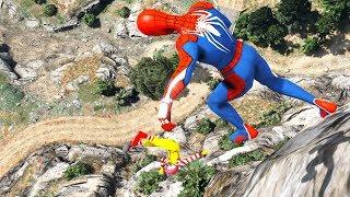 GTA 5 Crazy Spiderman CLIFF Jumps-Falls-Ragdolls [Euphoria physics | Funny Moments]