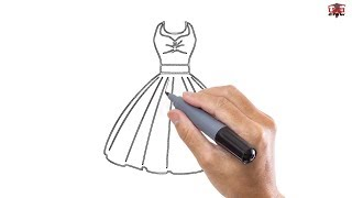 How To Draw A Dress Easy Step By Step Drawing Tutorials For Kids – UCIDraw