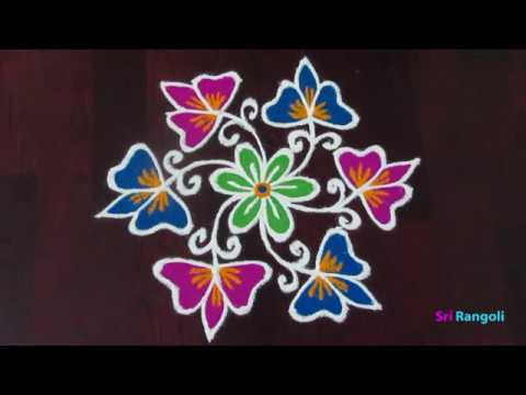 Download Simple Easy Daily Flower Rangoli 7x4 Middle Dots