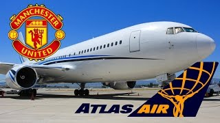 "HD RARE Atlas Air 767-277 N767MW ""Manchester United"" Takeoff from San Jose International Airport"