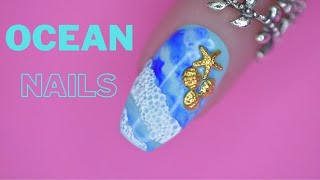 OCEAN NAILS TUTORIAL   Step By Step Beach Nail Art Tutorial Using BUBBLE NAILS  Technique