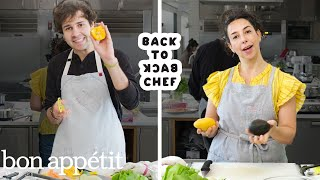 David Dobrik Tries to Keep Up with a Professional Chef   Back-to-Back Chef   Bon Appétit