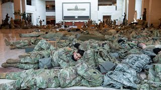 National Guard Troops Sleep on Floor of Capitol Building