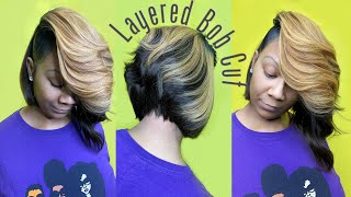 LOOK & LEARN : How To Do A Layered Asymmetrical Bob Quickweave On Natural Hair | Protective Cap