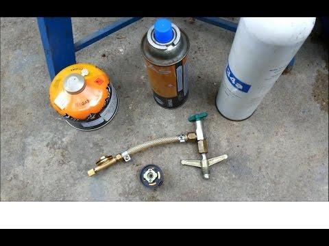 Lata/cartucho de gás propano butano, como recarregar.