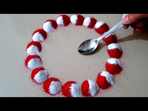 simple rangoli design with spoon by aarti