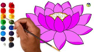 Lotus Flower Drawing With Color मफत ऑनलइन