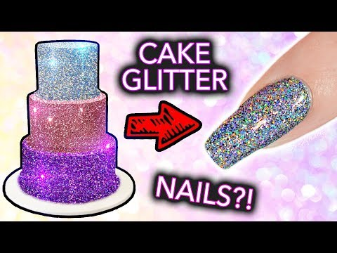 Putting CAKE GLITTER on NAILS? (+