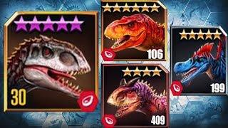 INDOMINUS REX Vs TYRANNOSAURUS REX,SPINOSAURUS,CARNOTAURUS - Jurassic World The Game