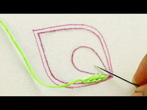 [Love Embroidery? Must See it] 4 hand embroidery stitches used in this embroidery leaf design video