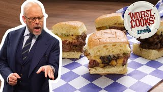 Alton Brown Makes Mini Man Burgers With Grilled Onions | Worst Cooks In America