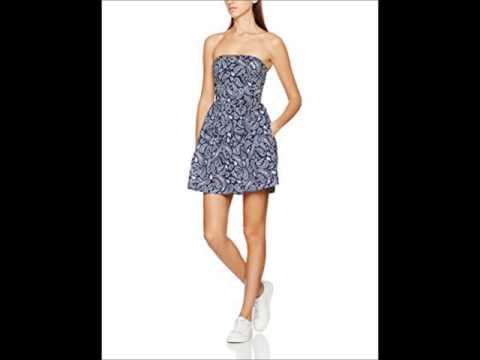 Tommy Hilfiger Denim Kleid Sommerkleid blau kurz schulterfrei