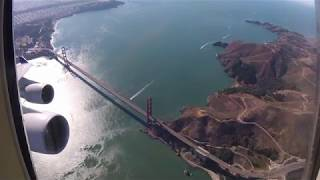 United 747 Farewell SFO Departure with Golden Gate Bridge Flyby | Kholo.pk