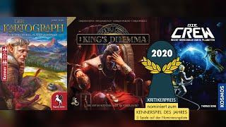Kennerspiel des Jahres 2020: nominiert sind Die Crew, Kings Dilemma, der Kartograph