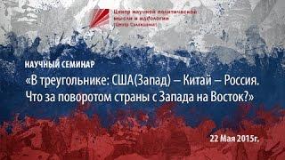 Научный семинар «В треугольнике: США(Запад) — Китай — Россия. Что за поворотом страны с Запада на Восток?»