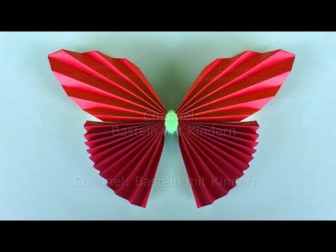 Basteln mit Kindern: Einfachen Origami Schmetterling falten mit Papier - DIY Muttertag